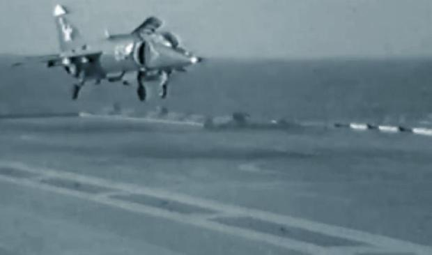 A Yak-38 during an SRVL-type landing aboard a Soviet carrier.