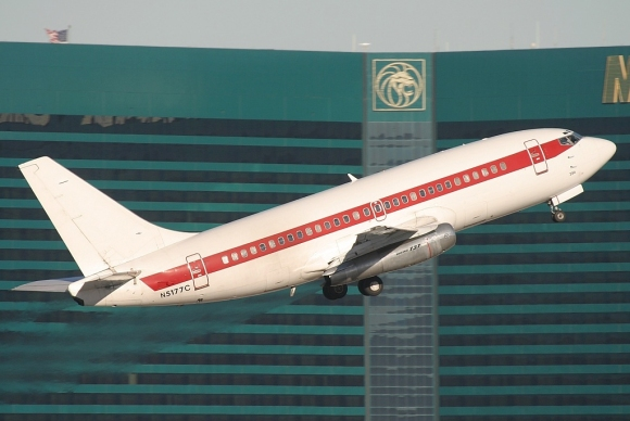 A Janet Boeing 737-200 taking off from McCarran International Airport. The -200s were eventually replaced by -600s.
