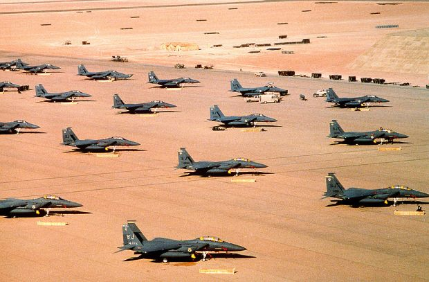 F-15E Strike Eagles of the 4th Tactical Fighter Wing during Operation Desert Shield.