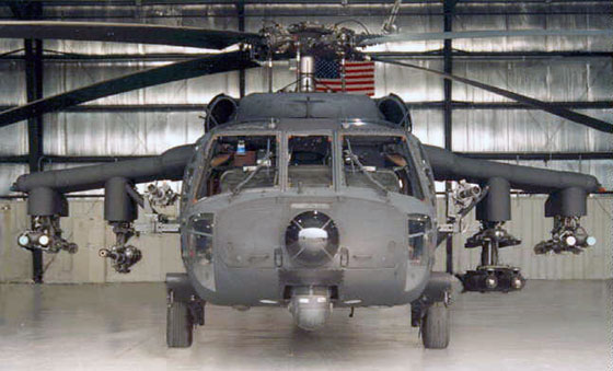 An MH-160L Direct Action Penetrator of the 160th SOAR(A). Noe the weaponry on either side of the aircraft.