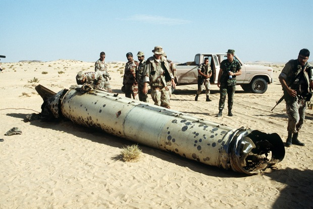 The remains of Scud missile, brought down by a Patriot missile battery.