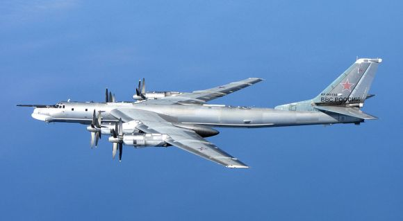 A Russian Tu-95 Bear 'H' photographed from a RAF Typhoon Quick Reaction Alert aircraft (QRA) with 6 Squadron from RAF Leuchars in Scotland. (UK Ministry of Defence)