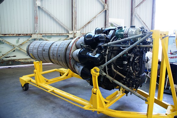 Klimov VK-1 jet engine from LiM-2  (c-n 1B01524 reg# 1524), on display at the Pacific Aviation Museum,  Pearl Harbor, Hawaii. (Photograph: JMesserly)