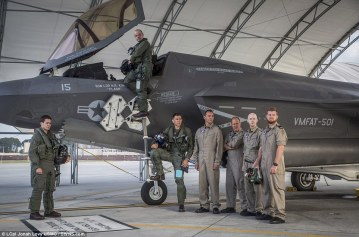 Members of the modern day 617 Squadron emulate the famous picture of the Second World War Squadron members with an F-35B Lightning II stealth jet at MCAS Beaufort, South Carolina, USA. Pictured from left to right: Lieutenant Rich Pavey, Wing Cdr Jon Butcher (Cockpit), Sqn Leader Hugh Nichol, CPO Gary Lister, Chief Tech Gary Gibbons, Cpl Patrick Bearefield, AET Alfred Burrows (MoD/USMC/released)