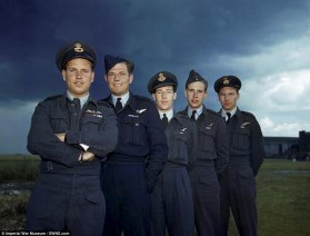 Prior to the raid: Guy Gibson, Pilot Officer P M Spafford, Flight Lieutenant R E G Hutchinson, Pilot Officer G A Deering and Flying Officer H T Taerum (MoD/released)